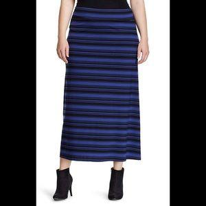 Ava & Viv 1X blue/black striped maxi skirt❤️